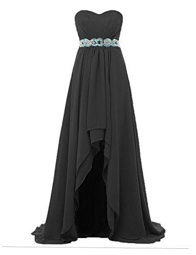Robes De Demoiselle D'honneur Asymétrique Des Femmes Dys Robes De Fête Ma Chérie Mousseline De Soie Plissée Noire