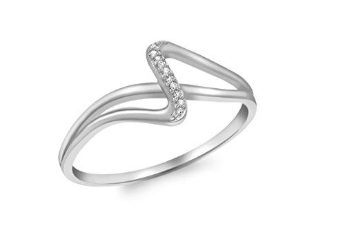 Bague diamant or blanc 9carats croisé