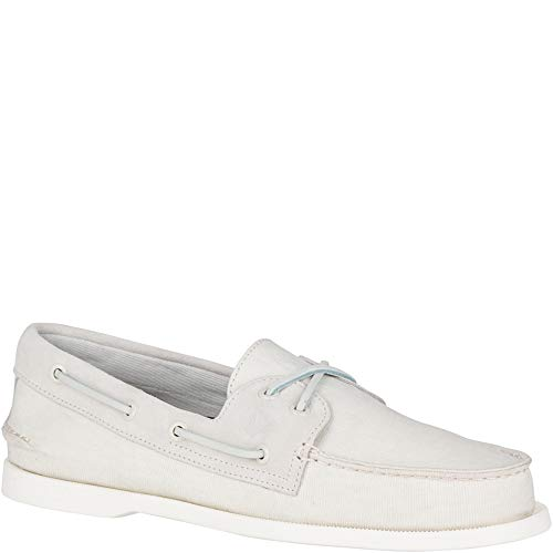 (Sperry Men's A/O 2-Eye Linen Boat Shoe Oxford, Off-White, 10.5 M)