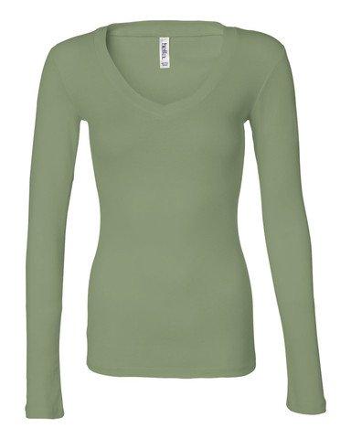 Bella + Canvas Ladies' Sheer Mini Rib Long-Sleeve V-Neck T-Shirt M MOSS GREEN