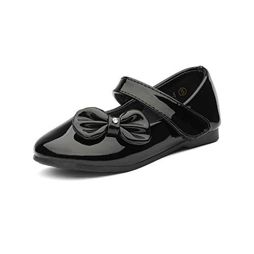 DREAM PAIRS Angel-5 Girls Mary Jane School Uniform Ballerina Flat Shoes Black PAT Size 6 Toddler