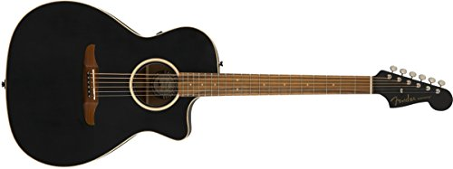Fender Rock Preamps - Fender Newporter Special - California Series Acoustic Guitar - Matte Black Finish with Gig Bag