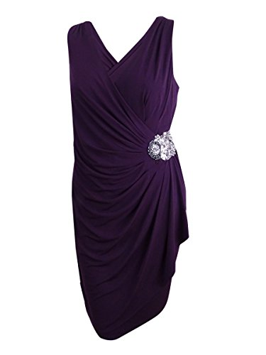 Klein Embellished Womens Aubergine Wrap Dress Plus Faux Calvin Cocktail RdqtBR