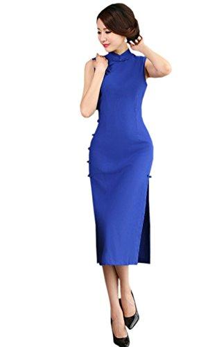 maniche Qipao Stand Woman Acvip Cheongsam con Elegant spaccato blu colore colletto tqwAw706