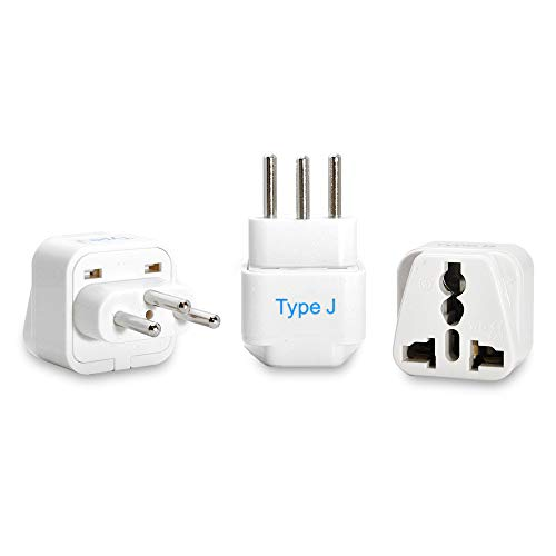 Ceptics Switzerland Travel Plug Adapter (Type J) - 3 Pack [Grounded & Universal] (GP-11A-3PK)...