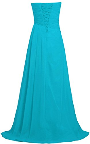 ANTS Women's Strapless Long Bridesmaid Dresses Chiffon Wedding Prom Gown Size 20W US Turquoise