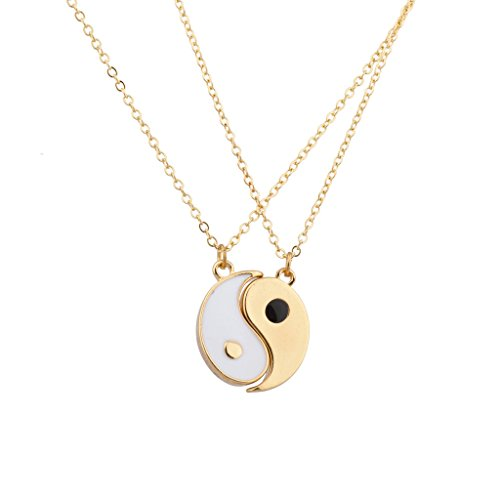 Lux Accessories Goldtone & White Yin Yang Peace One with All BFF Best Friends Necklaces