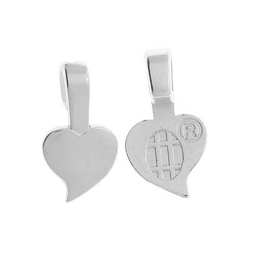 Heart Shaped Tiles - Aanraku, Heart Shaped Glue-On Pendant Bails, Small, 10 Pieces, Silver Plated