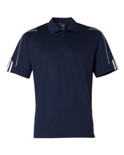 Adidas Golf Men's ClimaLite 3-Stripes Cuff Polo Sport Shirt. A76 - Large - Navy / - Stripe Polo Pique Multi