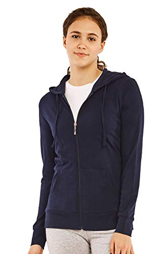 Women's Zip Up Cotton Light Hoodie Jacket Plus Size (XL, Navy)