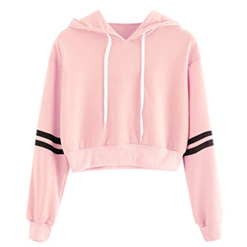 (Cropped Hoodies,ONLY TOP Women's 2019 Fashion Long Sleeve Patchwork Crop Top Sweatshirt Pink)