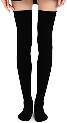 Kayhoma Extra Long Cotton Thigh High Socks Plus Size Over The Knee High Boot Stockings Cotton Leg Warmers Black One Size Amazon Com Au Fashion