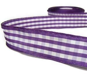 5 Yards Purple White Gingham Ribbon 1