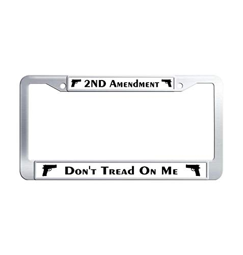 Hensonata Automotive Stainless Steel License Plate Frame, 2nd Amendment Don't Tread on me Car Licence Plate Covers Slim Design with Screw Caps Car Licenses Plate Covers Holders for US -