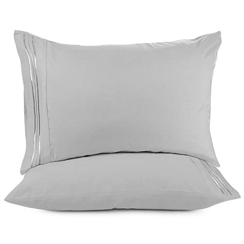Nestl Bedding Solid Microfiber King 20 X 40 Inches Pillowcases Light Silver Gray Set Of 2