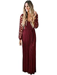 Womens Vintage Floral Lace Long Sleeve Wrap V Neck Party Long Maxi Dress