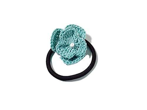 light teal flower crochet