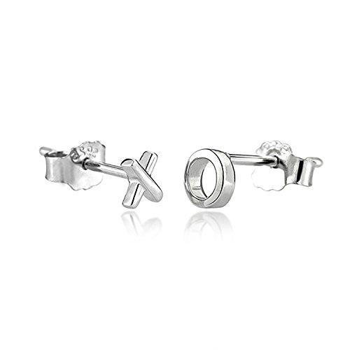 Cute Stud Earrings 925 Sterling Silver Dainty Mini XO Earrings for Women Everyday Wear