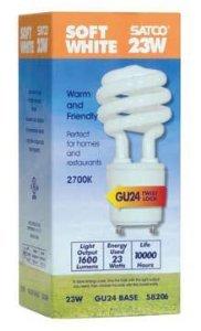 23w Compact Fluorescent Lamp - Satco S8206 T2 Mini Spiral Compact Fluorescent Lamp 23 Watt GU24 Base 1600 Lumens 82 CRI 2700K Warm White