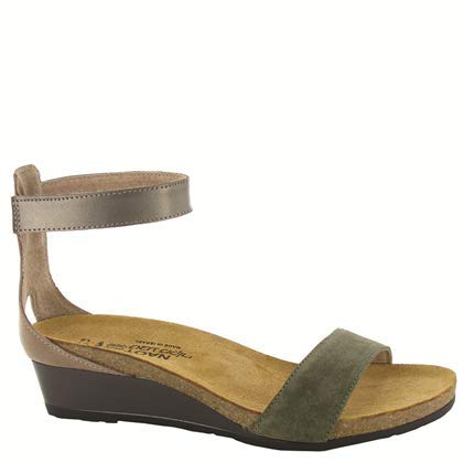 (NAOT Footwear Women's Pixie Oily Olive Suede/Arizona Tan Lthr/Pewter Lthr Wedge Sandal 41 M EU)