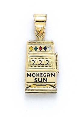 Or 14ct émail Mohegan soleil fente lavable en pendentif