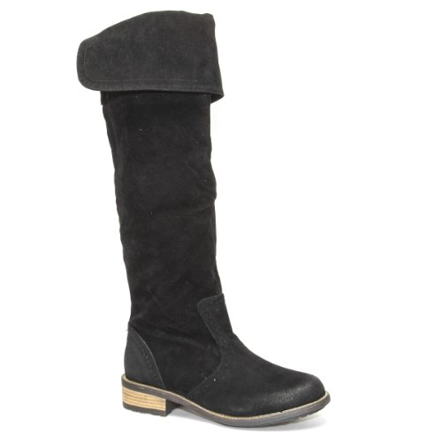 Shoes Boots High Flat US RELAX70 Qupid 7 Suede Closed V Black Women Slouchy M B The Toe Low Thigh Fold Heel Western Over Round Luxury Bi Knee Faux HnpZPpR