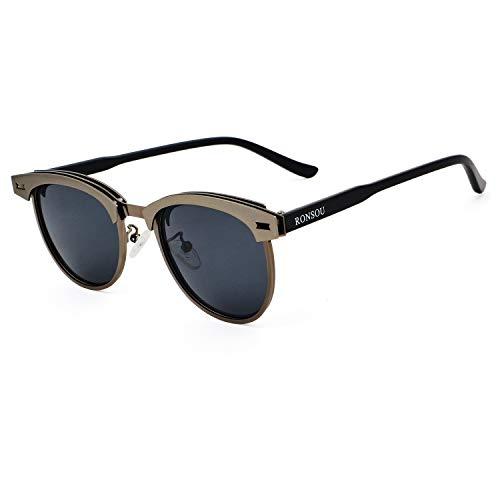 y Frame 100 Gafas Gray Lens Protección Hombre Sol UV400 Retro Mujer Gray RONSOU para de Polarizadas Gafas wqxnPXB6