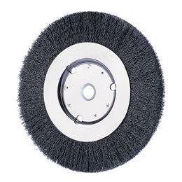 PFERD 80166 Narrow Face Crimped Wheel Brush, Carbon Steel Wire, 8'' Diameter, 1-1/4'' Arbor Hole, 0.010 Wire Size, 1-1/2'' Trim Length, 3/4'' Face Width, 6000 RPM