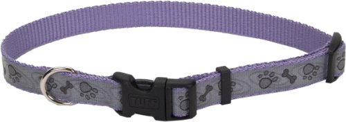 Lazer Brite Reflective Dog Collar, 18-26-Inches, Purple with Paws and Bones, My Pet Supplies