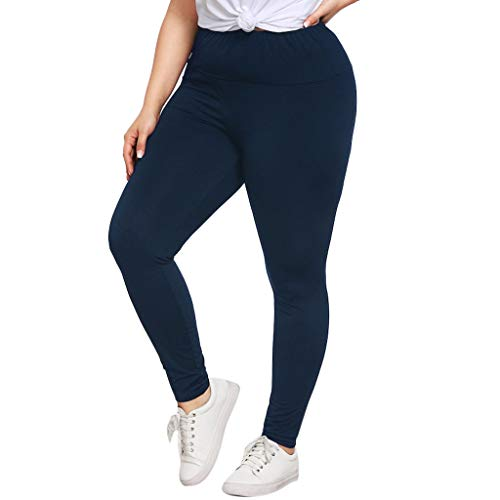 (CCatyam Plus Size Pants for Women, Yoga Trouser Sport Elastic Waist Loose Leggings Casual Fashion Navy)
