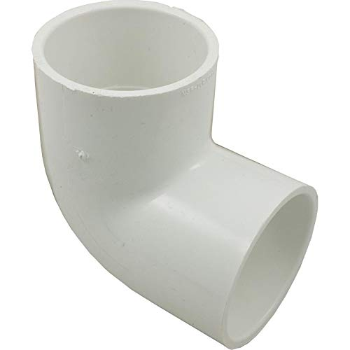 "Spears 406 Series PVC Pipe Fitting, 90 Degree Elbow, Schedule 40, White, 2"" Socket"