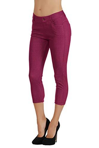 (Fit Division Women Jean Look Cotton Blend Jeggings Slimming Full Lenght Capri Bermuda Shorts Leggings Pants)