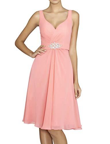 Linie Elegant Abendkleider Braut Brautjungfernkleider Partykleider mia Promkleider Knielang Pfirsisch Chiffon A Festlichkleider La TExq1UPwnU