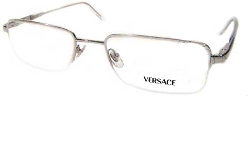 0360b195ff8 Image Unavailable. Image not available for. Color  Versace VE1066 1000  Silver Semi-Rimless Unisex Rx Eyeglasses