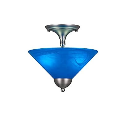 """Toltec Lighting 120-BN-4152 Semi-Flush with 2 Bulbs with Blue Italian Glass, 12"""", Brushed Nickel"""