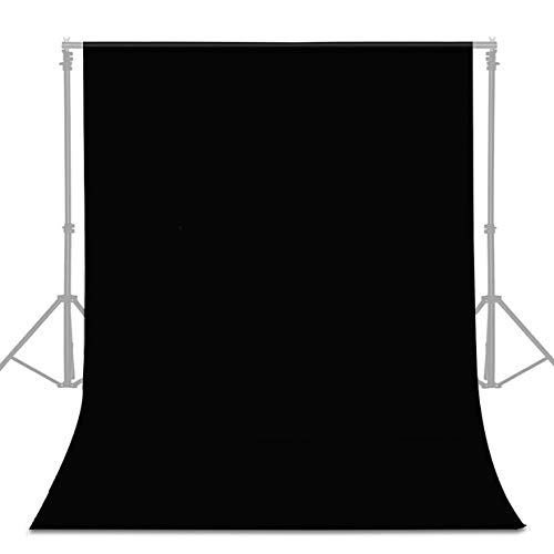 UTEBIT 6 x 9FT/1.8 x 2.8M Black Photo Backdrop Collapsible Polyester Muslin Camera Photography Background Cloth Wrinkle Resistant for Portrait Photo Studio Video Shooting