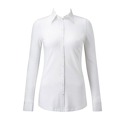 Russell Collection Long Sleeve Shirt Stretch Top White