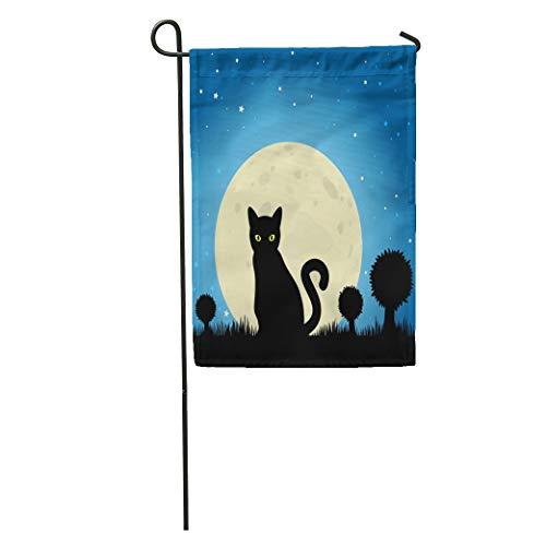 Semtomn Garden Flag Dark Halloween Black Cat Silhouette Against Moon Night Sky Eyes Home Yard House Decor Barnner Outdoor Stand 28x40 Inches Flag -