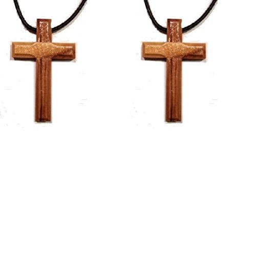 (Olive Wood Cross Pendent Necklace Leather Cord Made in Bethlehem Set of)