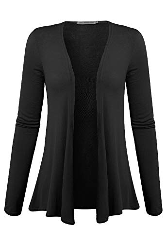 7th Element Plus Size Cardigan Sweaters Open Front Drape Lightweight Long Sleeves Tops for Women (Black, 2X)