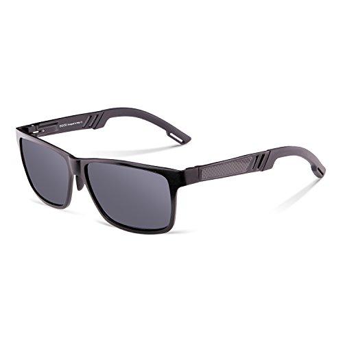 Duco Wayfarer Design Sonnenbrille Unisex Brille mit Federscharnier, Metallrahmen 2217 (Gestell: Schwarz, Gläser: Grau)
