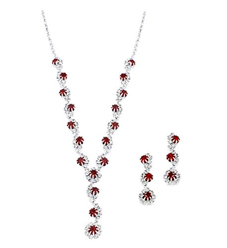 (YSOUL Crystal Necklace and Earrings Jewelry Set For Bridal Bridesmaids Wedding Prom (Dark Red))
