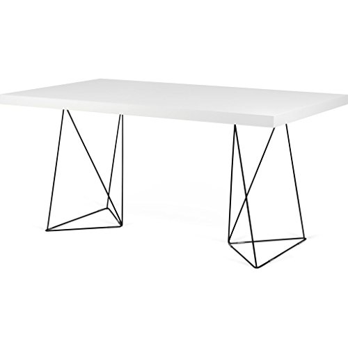 Steel Lacquered - Tema Home Multi 160 Trestle Dining Table   Pure White/Black Lacquered Steel