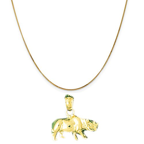 14k Yellow Gold Rhinosaurus Pendant on a 14K Yellow Gold Curb Chain Necklace, 16'' by Eaton Creek Collection