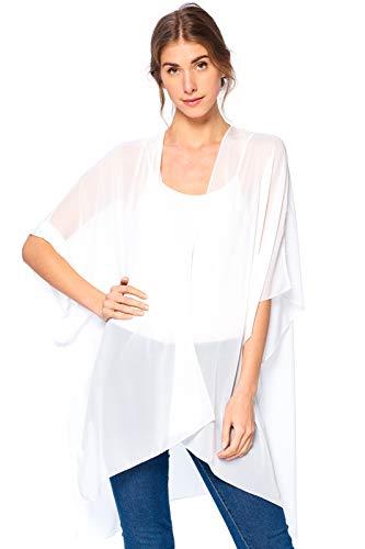 Modern Kiwi Solid Sheer Chiffon Kimono Cardigan White One Size Chiffon 100% Silk Sheer