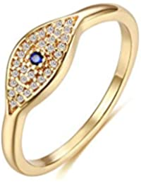 Gold Dainty Evil Eye Rings Mountain Ring Stackable Ring Open Wrap Ring CZ Eternity Bands for Women