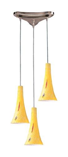 Elk 140-3YW 3-Light Pendant In Satin Nickel and Yellow Blaze Glass