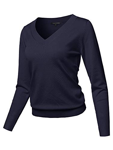 Casual Premium Quality Thick Neck Line Pullover V-neck Sweater Top Navy L