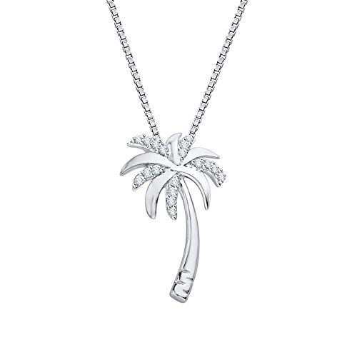 Silver Palm Tree Necklace - Diamond