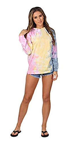 (Women's Tie Dye Hooded Long Sleeve Tshirt Pullover (Pastel,)